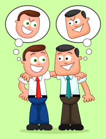 Two cartoon businessmen with their arms around each others shoulders and with sneaky thoughts. Vector