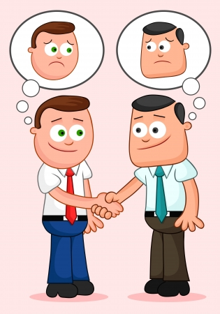 Two cartoon businessmen shaking hands and thinking unhappy thoughts. Vector