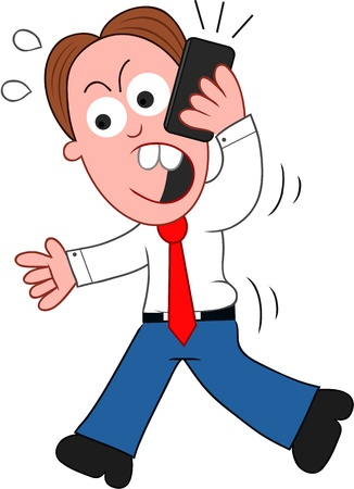 Cartoon businessman walking and angry on phone. Vector