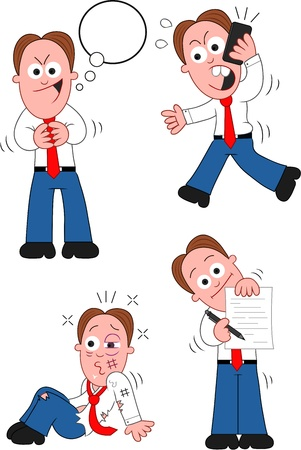 Funny cartoon businessman set. Stock Vector - 20213504