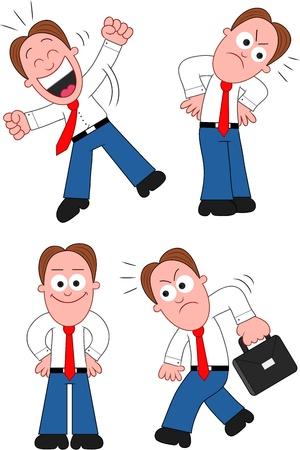 Funny cartoon businessman set. Stock Vector - 20213501