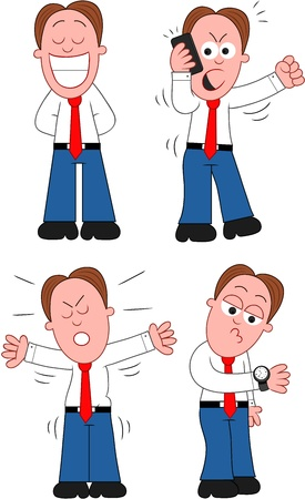 Funny cartoon businessman set. Stock Vector - 20213496