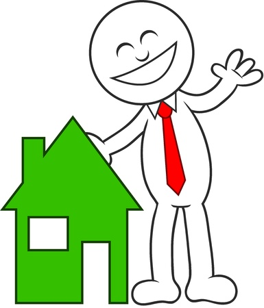 Cartoon man with a house, happy and laughing. Stock Vector - 20213512