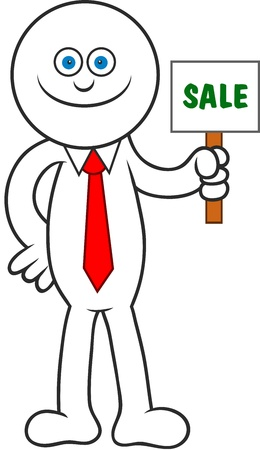 Cartoon man smiling and holding a sale signboard. Stock Vector - 20213509