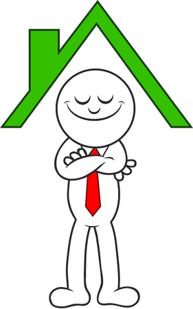 Cartoon man standing happily under the roof of a house. Stock Vector - 20213513
