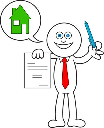 Cartoon man showing a contract for a house. Stock Vector - 20213514