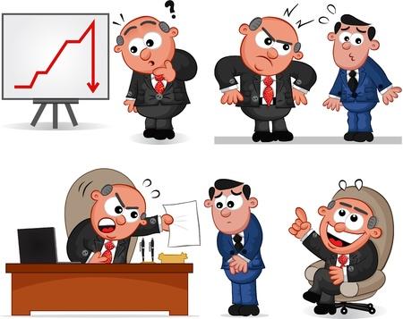 Cartoon boss man set Illustration