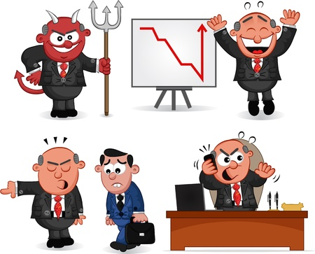 Cartoon boss man set Stock Vector - 20462490