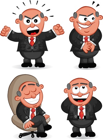 Cartoon boss man set   Vector