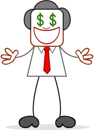 Cartoon businessman standing and greedy with dollar money eyes Vector