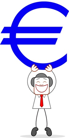 Cartoon businessman happy and holding up euro. Vector