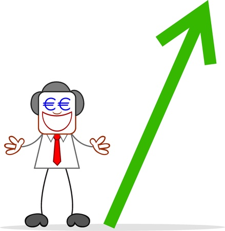 Cartoon businessman standing and greedy with euro money eyes and euro value up. Vector