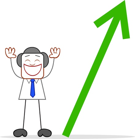 Cartoon businessman standing and happy with up arrow. Vector