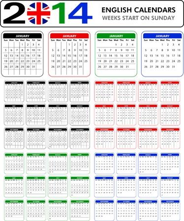 4 English calendar templates for 2014  Starts on sunday  Vector