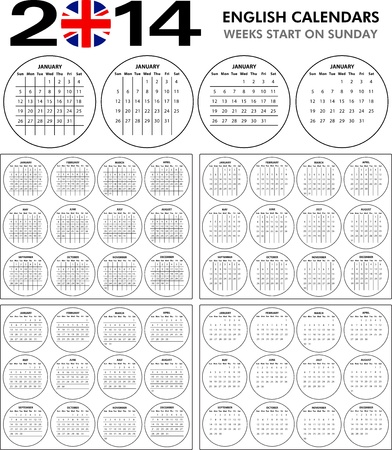 4 English calendar templates for 2014  Starts on sunday  Stock Vector - 21031992