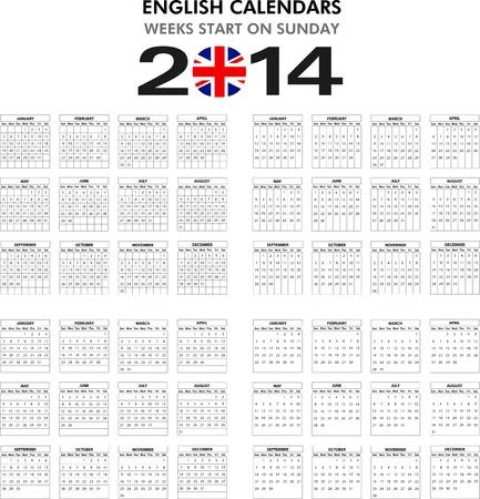4 modelli di calendario in inglese per il 2014. Inizia la domenica.