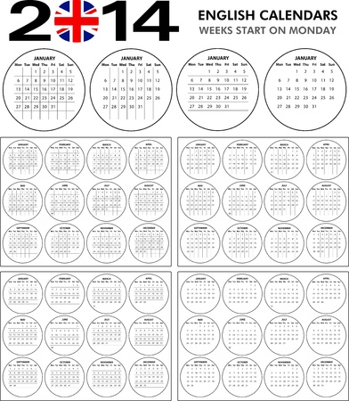 4 English calendar templates for 2014. Starts on monday. Stock Vector - 21217273