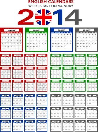 4 modelli di calendario in inglese per il 2014. Inizia il Lunedi.