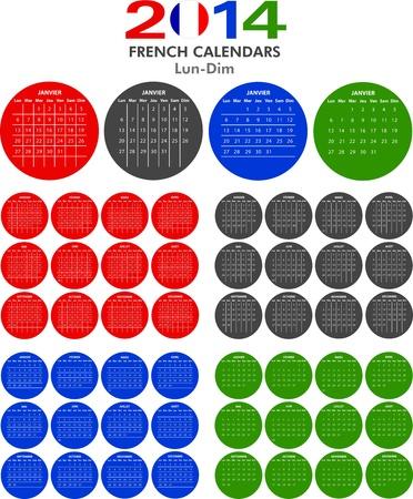 4 French calendar templates for 2014. Calendrier Français. Vector