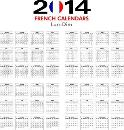 4 modelli di calendario francese per il 2014. Calendrier Fran�ais. Vettoriali
