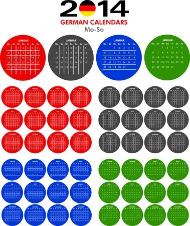 4 German calendar templates for 2014. Deutsch Kalender. Stock Vector - 21217299
