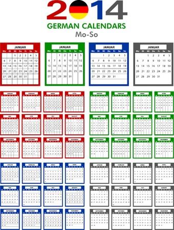 4 German calendar templates for 2014. Deutsch Kalender. Stock Vector - 21217304