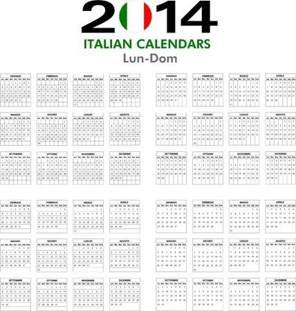 4 Italian calendar templates for 2014. Italiano calendario.