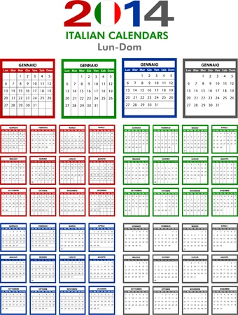 4 Italian calendar templates for 2014. Italiano calendario. Vector