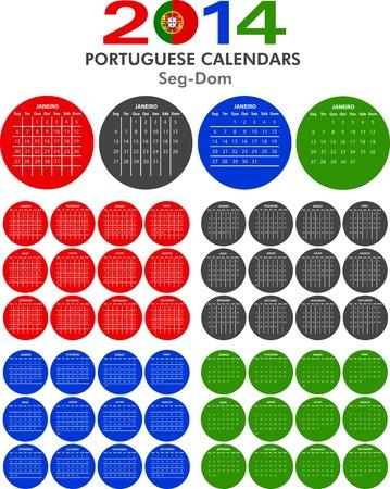 4 modelli di calendario portoghesi per il 2014. Portoghese calendario.