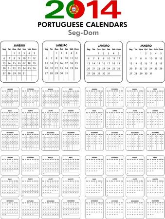 4 Portuguese calendar templates for 2014. Portuguese calendario. Stock Vector - 21647290