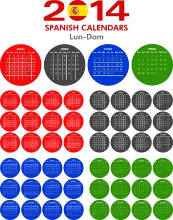 4 modelli di calendario di spagnolo per il 2014. Espa�ol calendario.