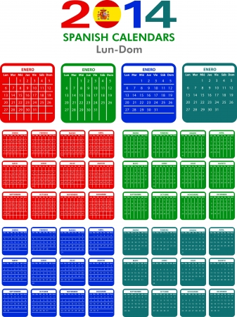 4 Spanish calendar templates for 2014. Español calendario. Vector