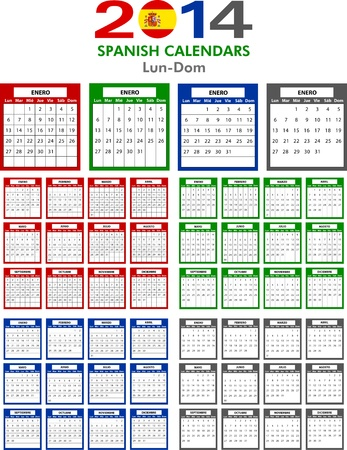 4 Spanish calendar templates for 2014. Español calendario. Vector