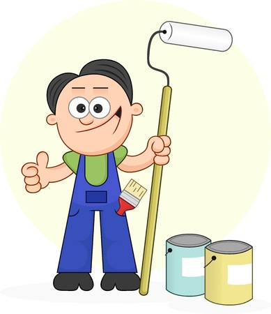 Cartoon painter holding long roller gives thumbs up. Vector