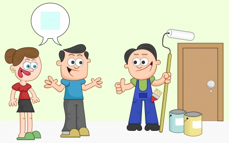 Cartoon man and woman agree on paint color and painter gives thumbs up. Vector