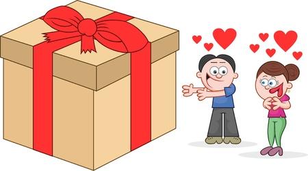 Cartoon man offering woman in love a big present. Vector