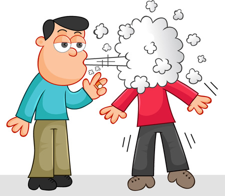 Cartoon man smoking a cigarette and blowing smoke in another persons face. Vector