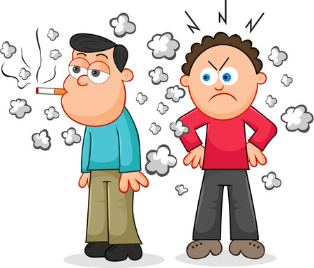 Cartoon man smoking a cigarette while another man looks on in anger. Vector