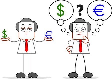 Cartoon businessman standing and holding a dollar and euro and confused about dollar and euro. Stock Vector - 22196586