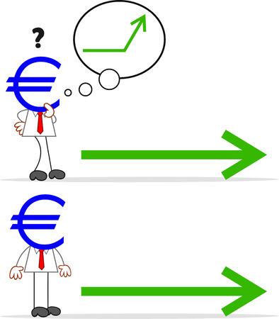 Cartoon euro money head businessman with arrow. Stock Vector - 22196588