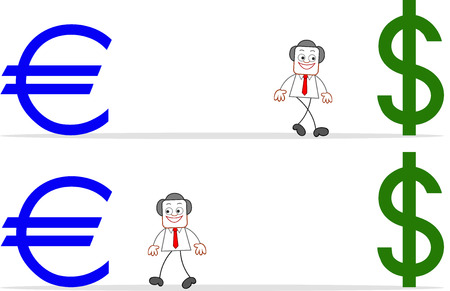 Cartoon businessman walking to euro and dollar. Vector