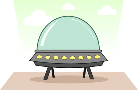Cartoon alien spaceship. Vector