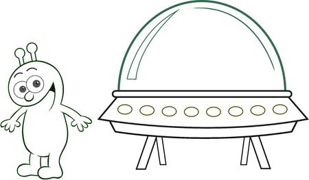 Cartoon alien happy and smiling with spaceship. Vector
