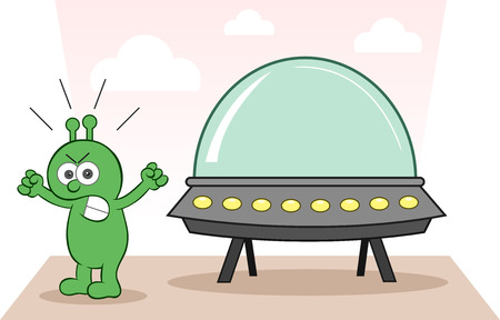 Cartoon alien angry and shouting with spaceship. Vector