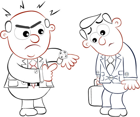 Businessman. Cartoon boss man angry at an employee late for work. Vector