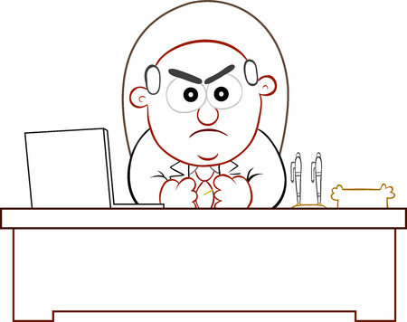 Businessman. Cartoon boss man angry and sitting at desk. Stock Vector - 22196697