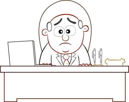 Cartoon boss man unhappy. Stock Vector - 22196705