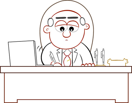 Cartoon boss man signing. Stock Vector - 22196722