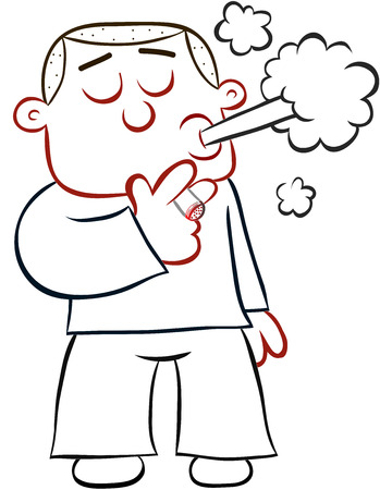 Cartoon man standing and smoking a cigarette. Vector