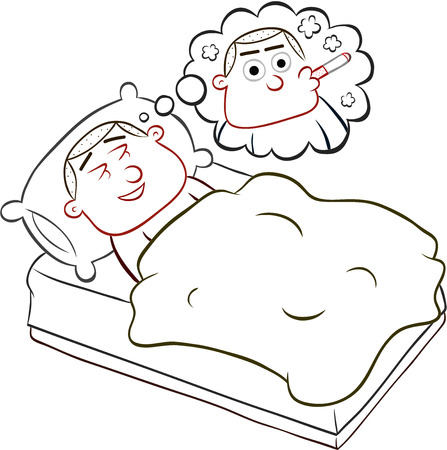 Cartoon man lying in bed and dreaming of smoking a cigarette. Vector